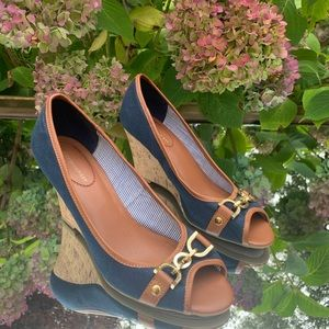 Open toe wedge shoes NAVY BLUE gold detailing